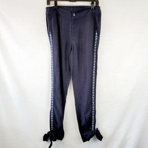 Anthro Eze Sur Mer Navy Embroidered Crop Tie Pant